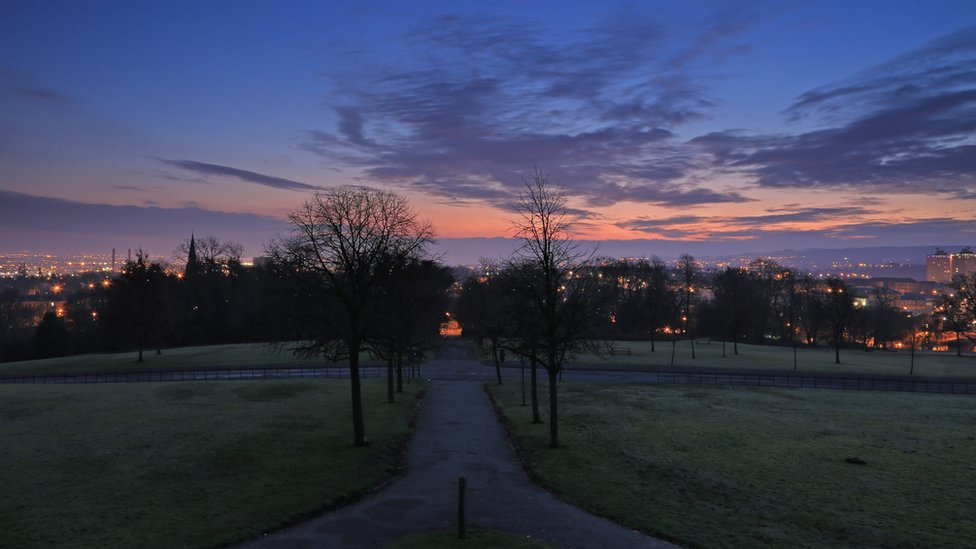 Winter - Dawn Glasgow from Queen's Park