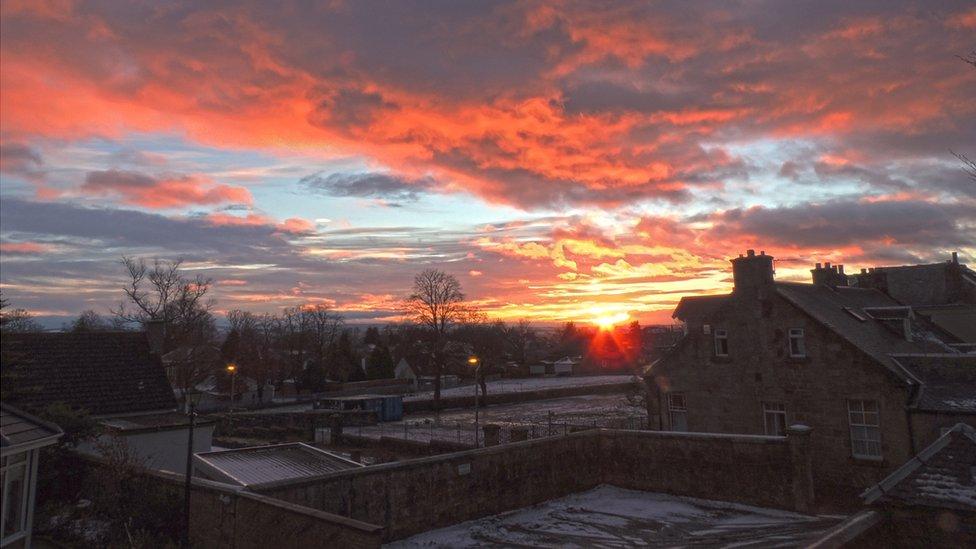 Winter - sunset over Carluke