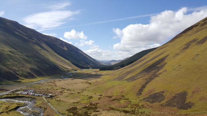 Spring - The Grey Mare's tail looking towards Moffat
